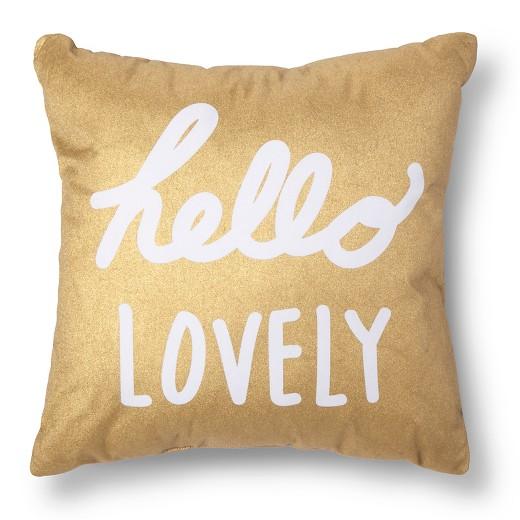 Gold white hello lovely throw pillow xhilaration Xhilaration home decor
