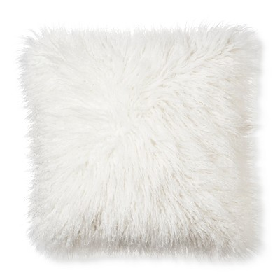 "view Cream Mongolian Faux Fur Throw Pillow (18""x18"") - Xhilaration on target.com. Opens in a new tab."