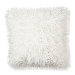 """Cream Mongolian Faux Fur Throw Pillow (18""""x18"""") - Xhilaration™"""