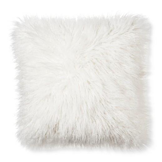 "Cream Mongolian Faux Fur Throw Pillow (18""x18 ..."