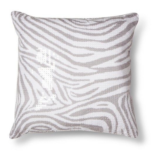 Gray Zebra Sequin Throw Pillow - Xhilaration : Target