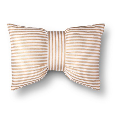 Gold & White Metallic Stripe Bow Throw Pillow - Xhilaration™