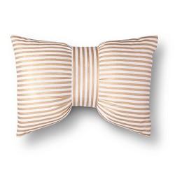 Gold & White Metallic Stripe Bow Throw Pillow - Xhilaration™