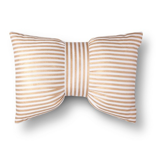 Throw Pillow With Bow : Gold & White Metallic Stripe Bow Throw Pillow - Xhilaration : Target