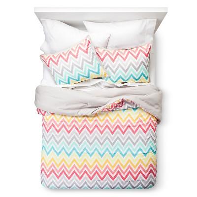 Pink Chevron Print Comforter Set (Full/Queen)- Xhilaration™