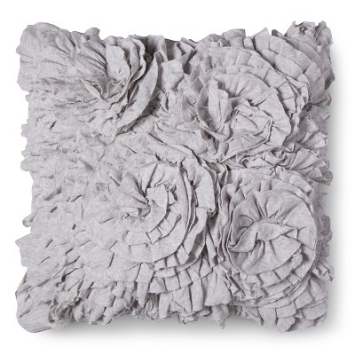 Gray Jersey Ruffle Square Throw Pillow (16 x16 )- Xhilaration™