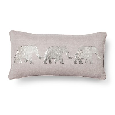 Elephant Throw Pillow - Gray (Square)- Mudhut™
