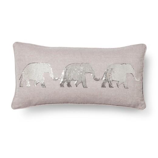 Elephant Throw Pillow Gray Square Mudhut Target