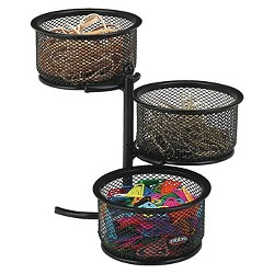 Rolodex™ 3 Tier Wire Mesh Swivel Tower Paper Clip Holder, 3 3/4 x 6 1/2 x 6, Black