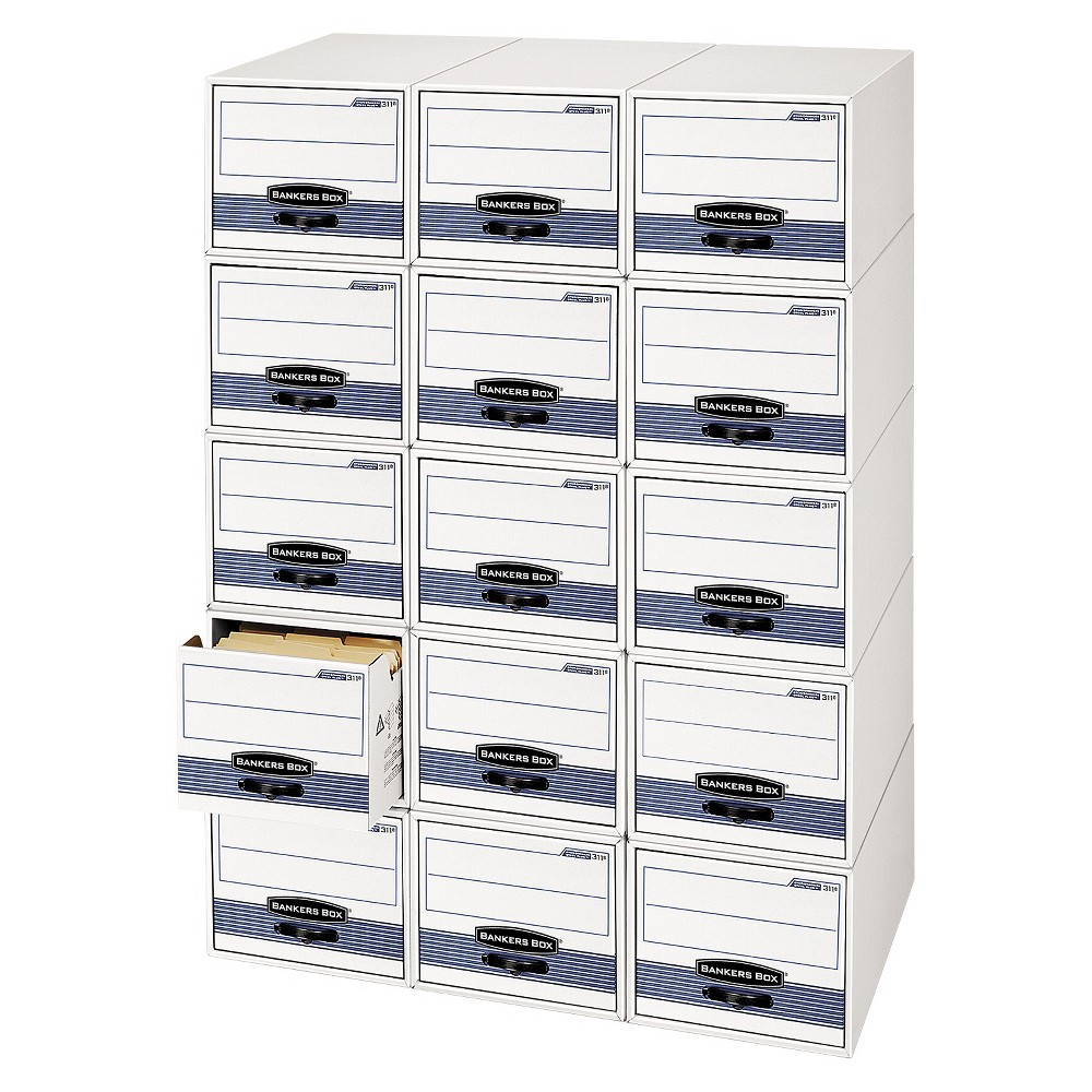 Bankers Box Stor/drawer Steel Plus Storage Drawer, Check Size, 9 1/4 X 4 3/8 X 23 1/2 Inches, 12/carton, White/blue