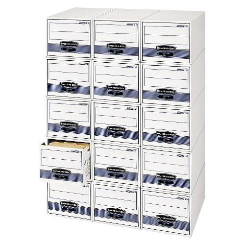 Bankers Box Stor/Drawer Steel Plus Storage Drawer, Check Size, 9-1/4 x 4-3/8 x 23-1/2 Inches, 12/Carton, White/Blue