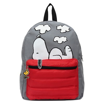 Peanuts 16  Snoopy and Woodstock Kids' Backpack - Gray/Red