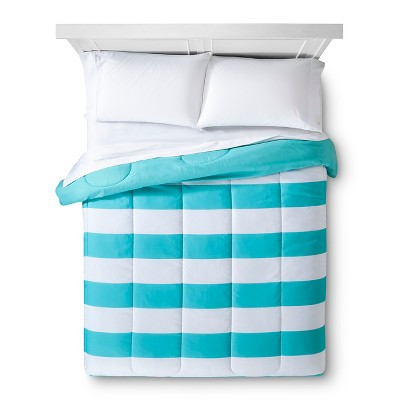 Turquoise Rugby Stripe Comforter (Full/Queen)- Room Essentials™
