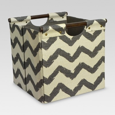 Pandan Woven Cube Storage Bin 13  - Gray Chevron - Threshold™