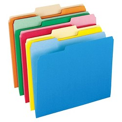 Pendaflex® Two-Tone File Folders, 1/3 Cut Top Tab, Letter, Assorted Colors, 100/Box