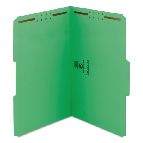 Smead Folders - Two Fasteners - 1/3 Cut Assorted Top Tab - Legal - Green (50 Per Box) - image 1 of 1