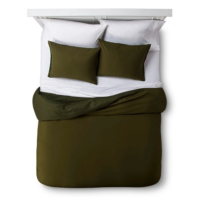 Olive Solid Brushed Polyester Duvet Set (Full/Queen)- Room Essentials™