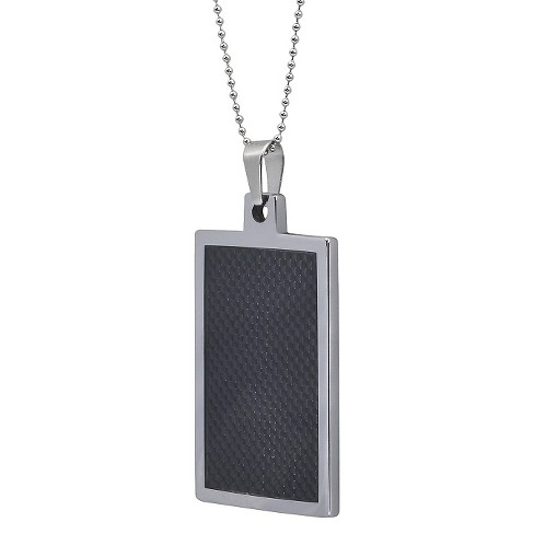 Mens daxx tungsten dog tag pendant with fiber inlay black 20 mens daxx tungsten dog tag pendant with fiber inlay black 20 target aloadofball Choice Image