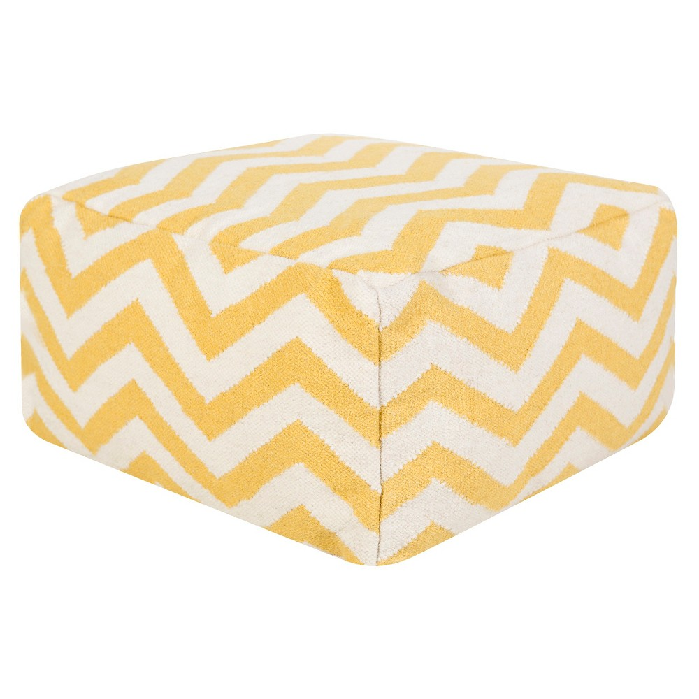 "Yellow Icarus Chevron Cube Pouf 24x24""""x13"""" - Surya, Sunflower"