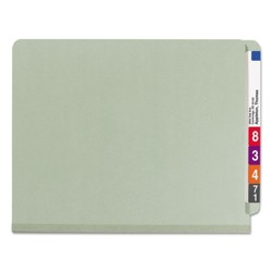 Smead® Pressboard End Tab Classification Folder, Letter, 4-Section, Gray-Green, 10/Box