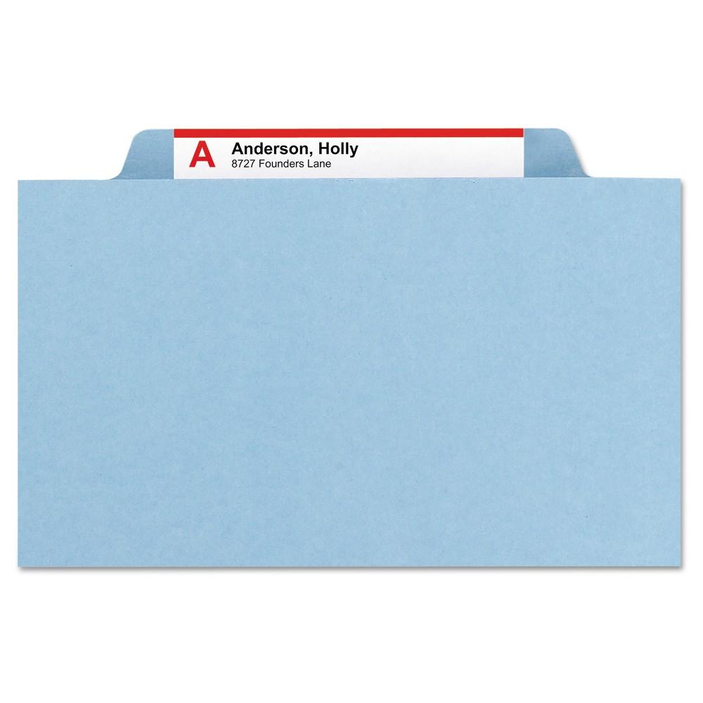 Smead Pressboard Folders with Two Pocket DividersLetterSix-SectionBlue10/Box, Blue