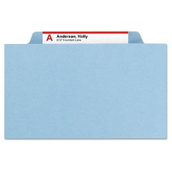 Smead® Pressboard Folders with Two Pocket Dividers, Letter, Six-Section, Blue, 10/Box