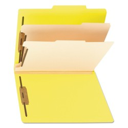 Smead® Top Tab Classification Folders, Two Dividers, Six-Section, Yellow, 10/Box