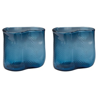 Set of 2 Blue Textured Table Vases