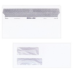Quality Park™ Reveal-N-Seal Double Window Invoice Envelope, Self-Adhesive, White, 500/Box