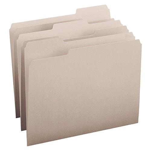 Smead File Folders, 1/3 Cut Top Tab, Letter, Gray, 100/Box, Grey