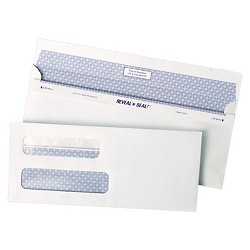 Quality Park™ Reveal-N-Seal Double Window Check Envelope, Self-Adhesive, White, 500/Box