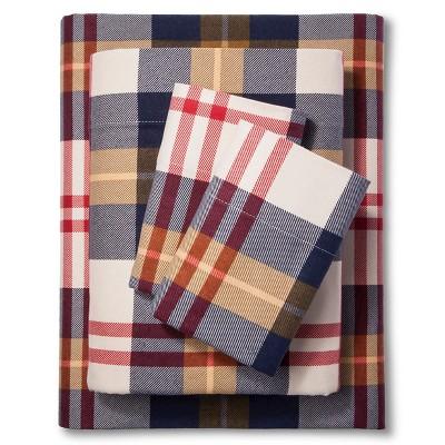 Threshold™ Printed Flannel Sheet Set - Navy (Queen)