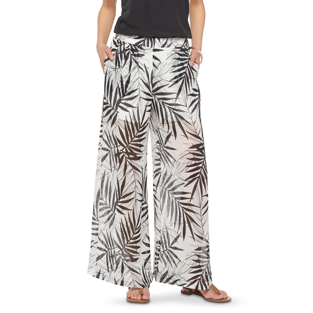 Women's Palm Print Palazzo Pants Black/White Xxl - Mossimo