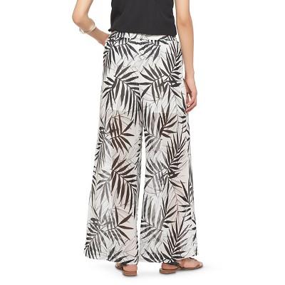 Women's Palm Print Palazzo Pants Black/White L - Mossimo