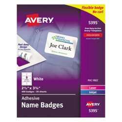 Avery® Flexible Self-Adhesive Laser/Inkjet Name Tag Badge Labels, 2 1/3 x 3 3/8, WE, 400/BX
