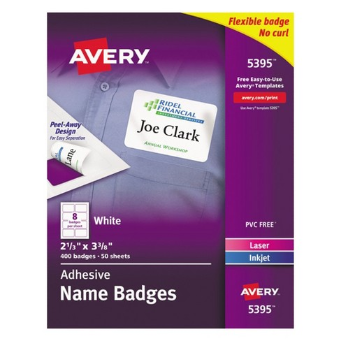 Avery® Flexible Self-Adhesive Laser/Inkjet Name Tag Badge Labels, 2 1/3 x 3 3/8, WE, 400/BX - image 1 of 1