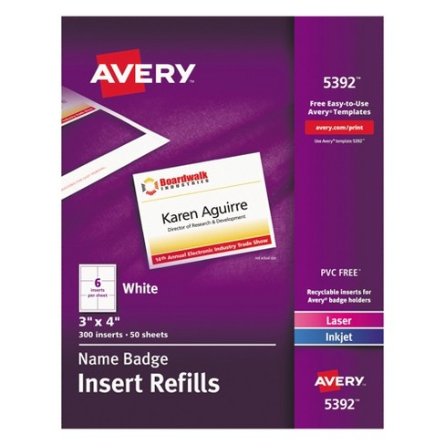 Avery Additional LaserInkjet Inserts X White Box Target - 3x4 name tag template