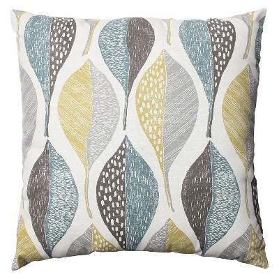 Pillow Perfect Woodblock Leaf Rain Throw Pillow - Brown (23 x23 )