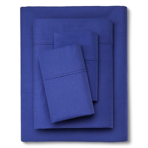 Organic Sheet Set (Twin Extra Long) Blue 300 Thread Count - Threshold™ - image 1 of 1