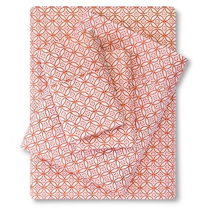 Organic Sheet Set (Twin) Orange Geo 300 Thread Count - Threshold