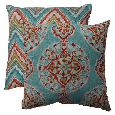 Pillow Perfect Mirage & Chevron Throw Pillow - Blue (16.5 x16.5 )