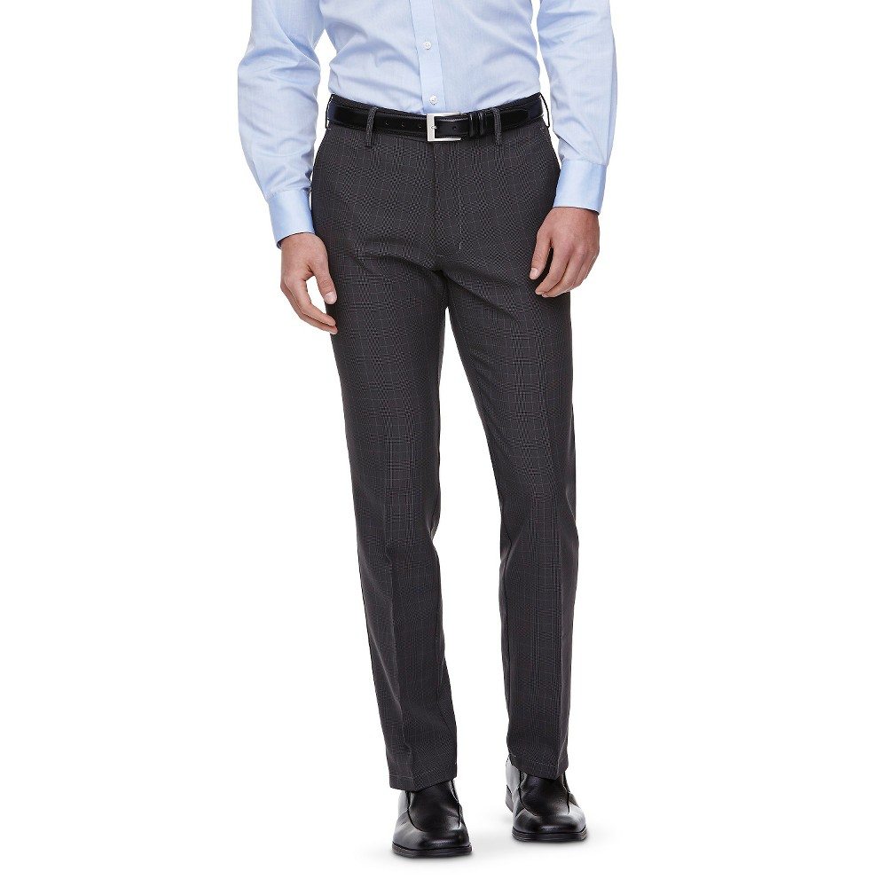Haggar H26 - Men's Slim Fit Performance Trousers Charcoal (Grey) Plaid 31X34, Size: 38X30
