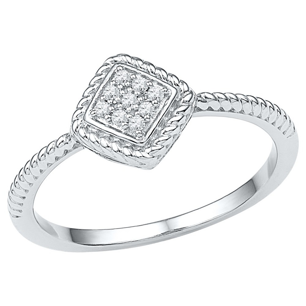 Diamond Accent CT.T.W Round Diamond Prong Set Fashion Ring in Sterling Silver (IJ-I2-I3) (Size 8), Womens, White