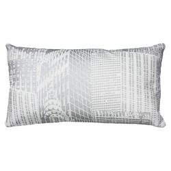 """White/Silver Metallic Printed Pattern Throw Pillow (11""""x21"""") - Rizzy Home"""