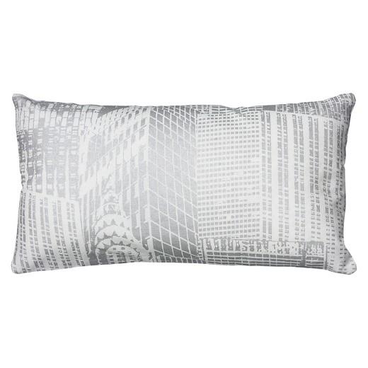 White/Silver Metallic Printed Pattern Throw Pillow (11