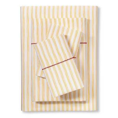 Brooklyn & Bond™ Fine Stripe Sheet Set Queen - Yellow