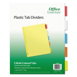 Avery® Office Essentials Insertable Tab Index Divider Set, Letter, Assorted, 5/Set
