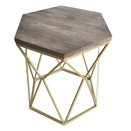 - Chester End Table Gold Metal Hexagon - Threshold™ : Target