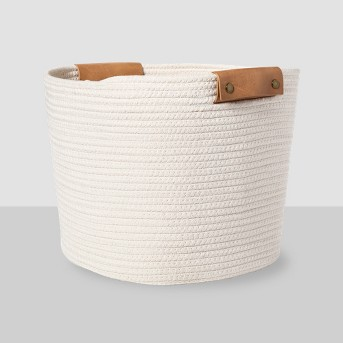 Decorative Coiled Rope Square Base Tapered Basket Medium White 13