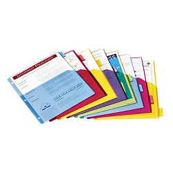 Cardinal 1-Pocket Index Dividers 8-Tab - Assorted Colors - 3-Hole Punched - Plastic - 4 Sets/ Pack